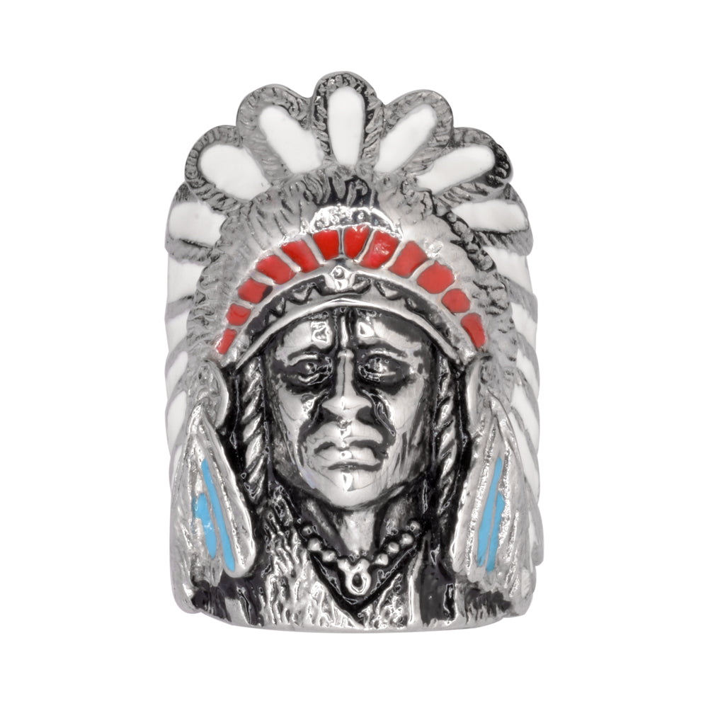 SK1064 Gents Indian Head Ring With Enamel Stainless Steel Motorcycle Jewelry