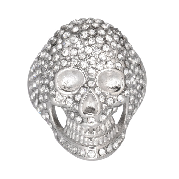 SK1065  Ladies Bling Covered Skull Imitation Diamond Ring Stainless Steel Motorcycle Jewelry  Size 5-9