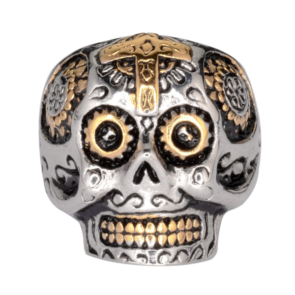 SK1066  Ladies Sugar Skull With Cross Skull Ring Stainless Steel Motorcycle Jewelry  Size 5-9