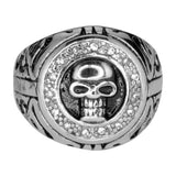 SK1072  Skull Ring Imitation Stones Stainless Steel Motorcycle Jewelry  Size 10-14