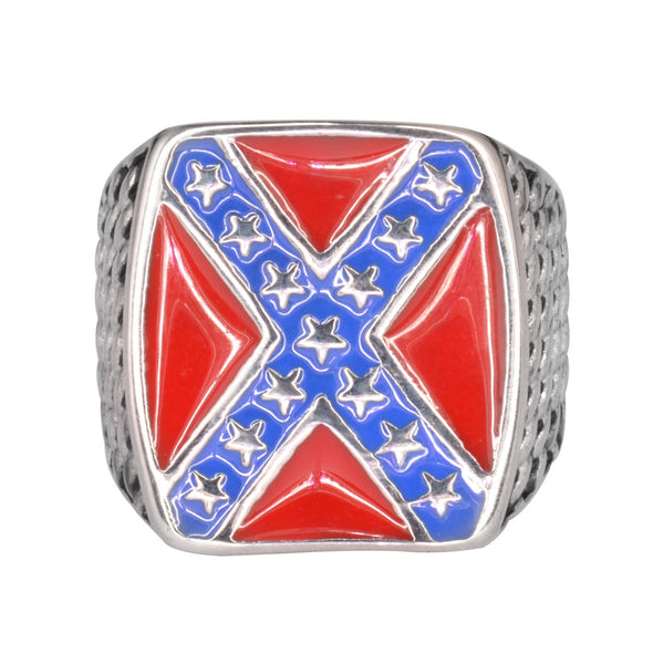 SK1074  Rebel Nation Flag Ring Stainless Steel Motorcycle Jewelry  WARNING: NOT FOR SNOWFLAKES  Size 10-15