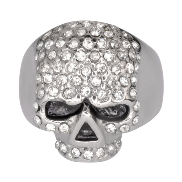SK1075  Ladies Bling Skull Imitation Diamond Ring Stainless Steel Motorcycle Jewelry  Size 6-10