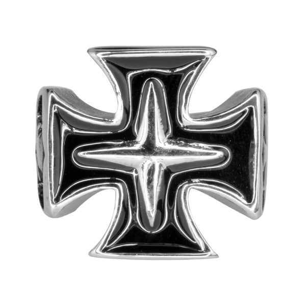 SK1076  Maltese Cross Skull Ring Stainless Steel Motorcycle Jewelry  Size 10-14