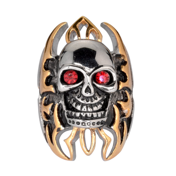 "SK1078  Skull Flames Gold Tone Ring 1 1/2"" Tall Imitation Rubt Eyes Stainless Steel Motorcycle Jewelry  Size 10-15"