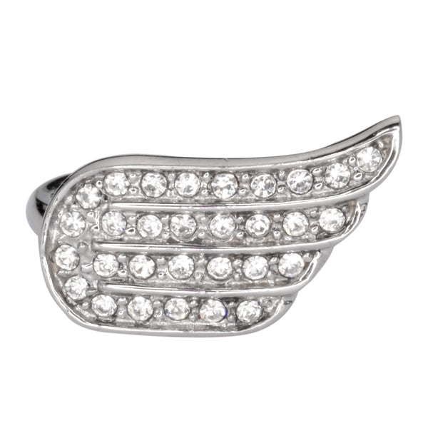 SK1082   Ladies Bling Wing Ring White Crystals Stainless Steel Motorcycle Jewelry   Size 6-10