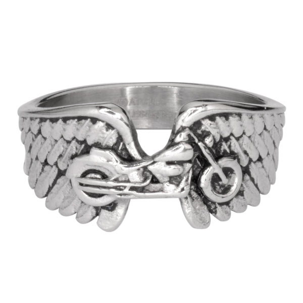 SK1086  Ladies Motorcycle Bike Wing Ring Stainless Steel  Size 5-9