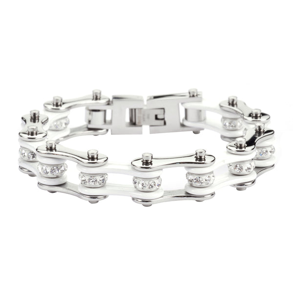 "SK1100 1/2"" Wide Two Tone Silver White With White Crystal Centers Stainless Steel Motorcycle Bike Chain Bracelet"