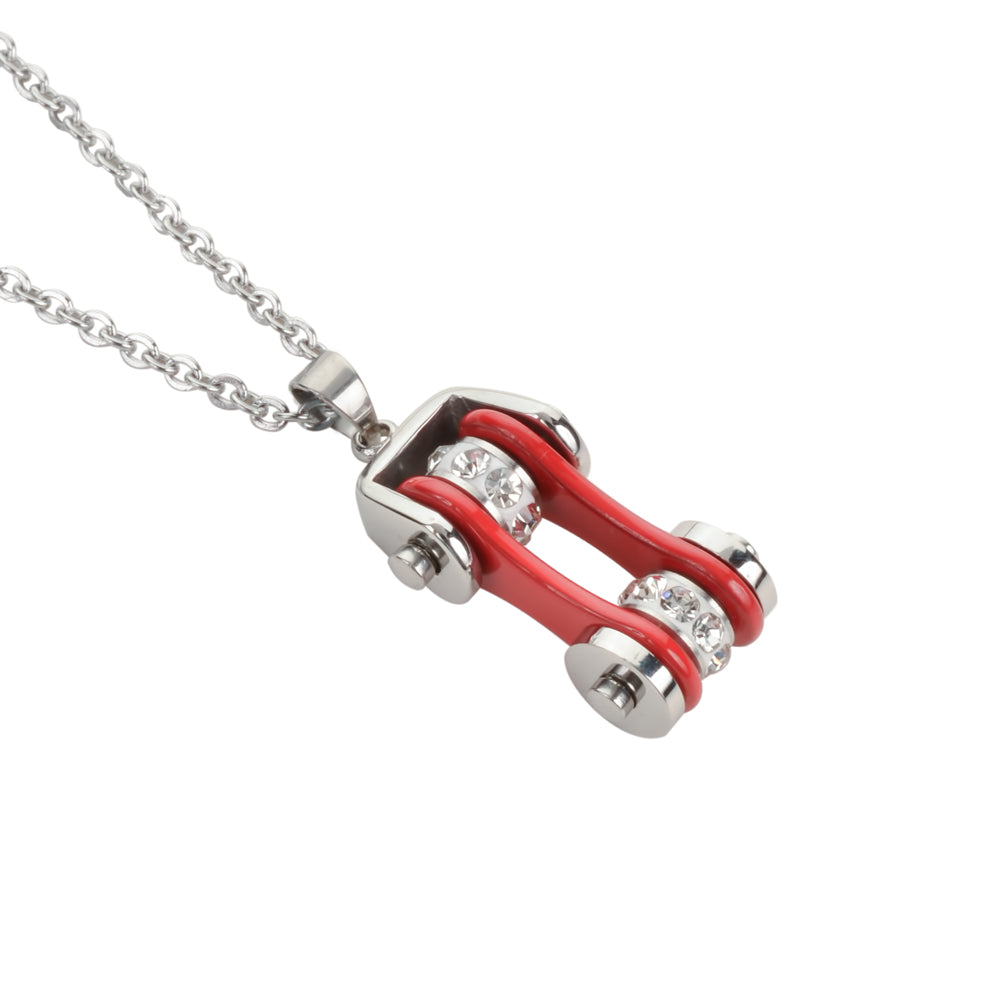 "SK1101N Ladies Bike Chain Silver Red Crystal Bling Necklace 19"" Stainless Steel Motorcycle Jewelry"