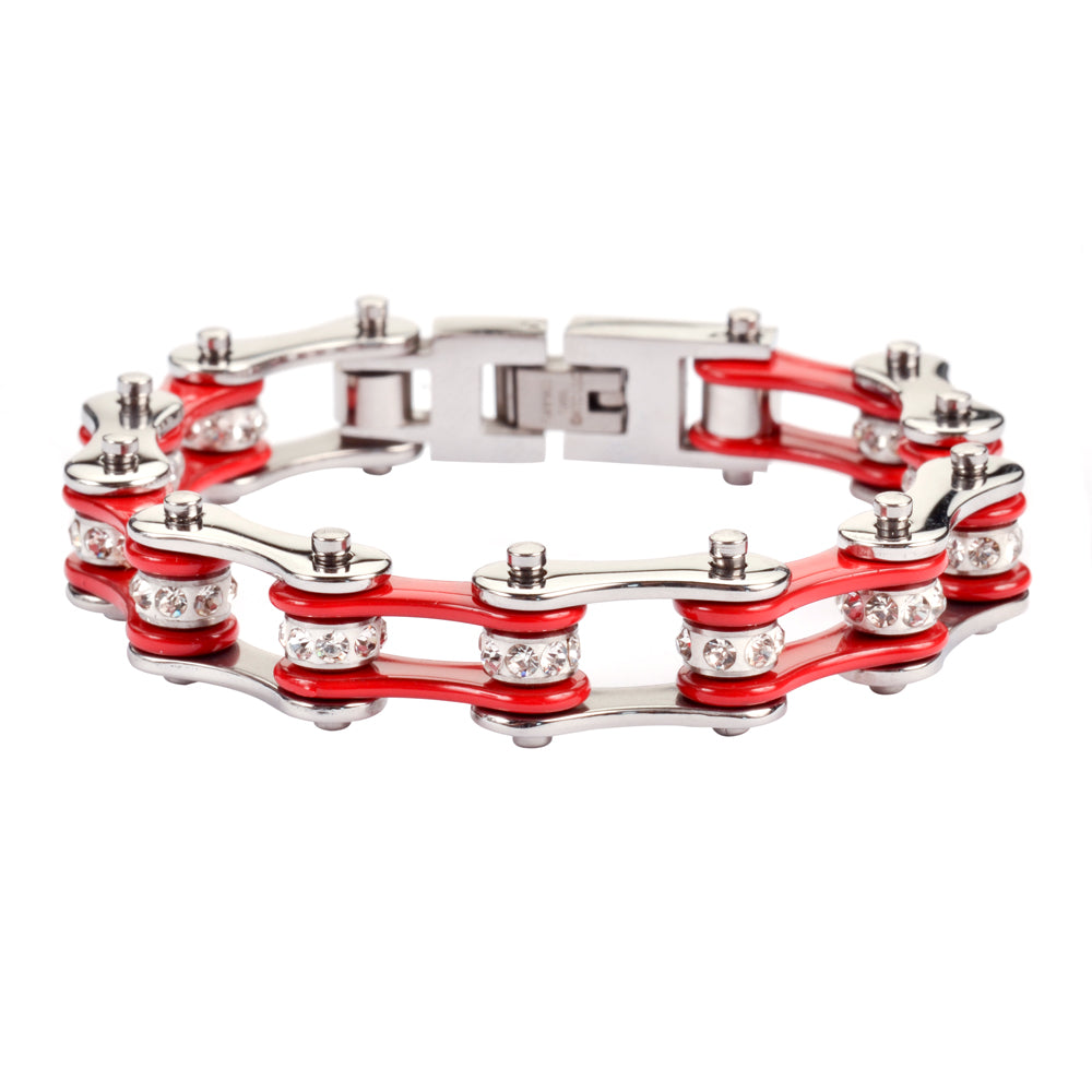 "SK1101 1/2"" Wide Two Tone Silver Red With White Crystal Centers Stainless Steel Motorcycle Bike Chain Bracelet"