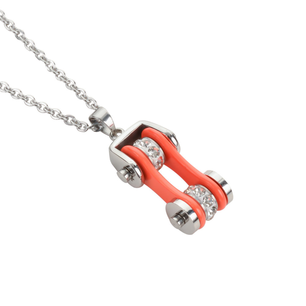 "SK1102N Ladies Bike Chain Silver Orange Crystal Bling Necklace 19"" Stainless Steel Motorcycle Jewelry"