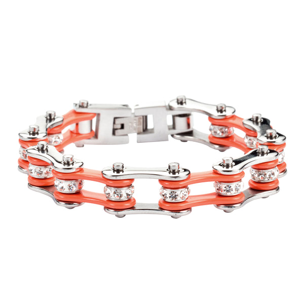 "SK1102 1/2"" Wide Two Tone Silver Orange With White Crystal Centers Stainless Steel Motorcycle Bike Chain Bracelets"