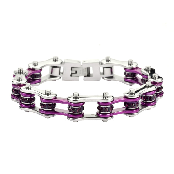 "SK1103S 1/2"" Wide Two Tone Silver Candy Purple With Purple Stones Stainless Steel Motorcycle Bike Chain Bracelet"