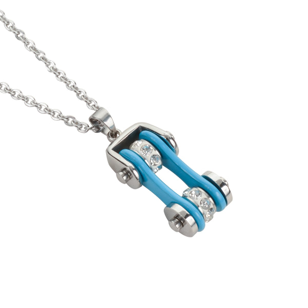"SK1104N Ladies Bike Chain Silver Turquoise Crystal Bling Necklace 19"" Stainless Steel Motorcycle Jewelry"