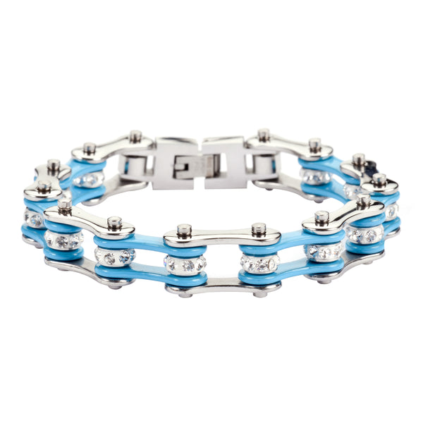 "SK1104 1/2"" Wide Two Tone Silver Turquoise With White Crystal Centers Stainless Steel Motorcycle Bike Chain Bracelet"