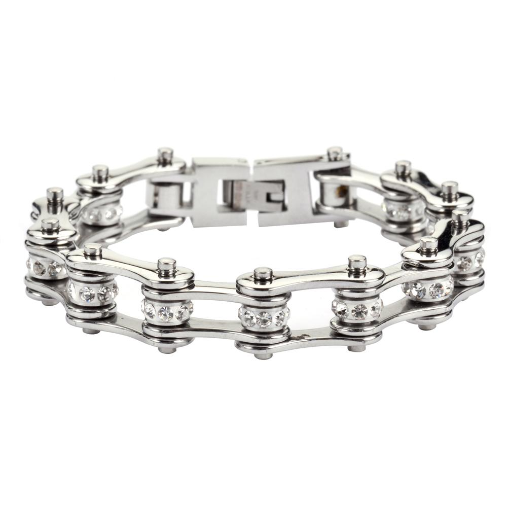 "SK1105 1/2"" Wide All Stainless With White Crystal Centers Stainless Steel Motorcycle Bike Chain Bracelet"