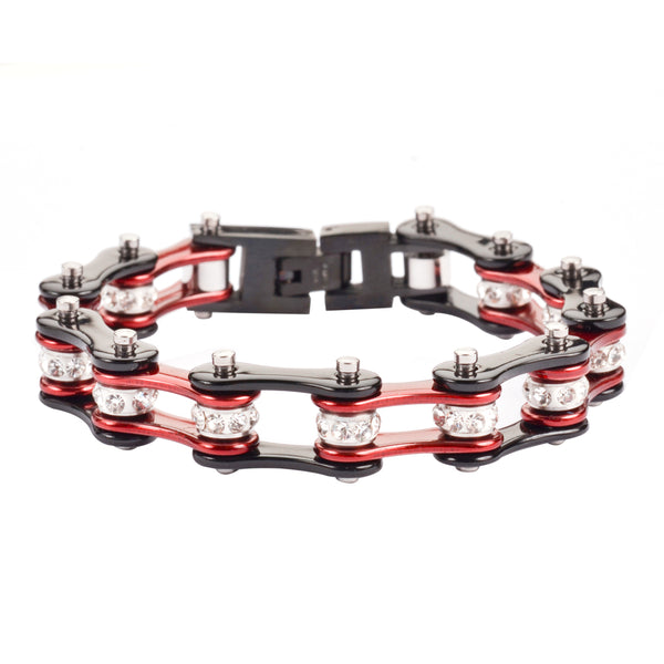 "SK1106 1/2"" Wide Two Tone Black Candy Red With White Crystal Centers Stainless Steel Motorcycle Bike Chain Bracelet"