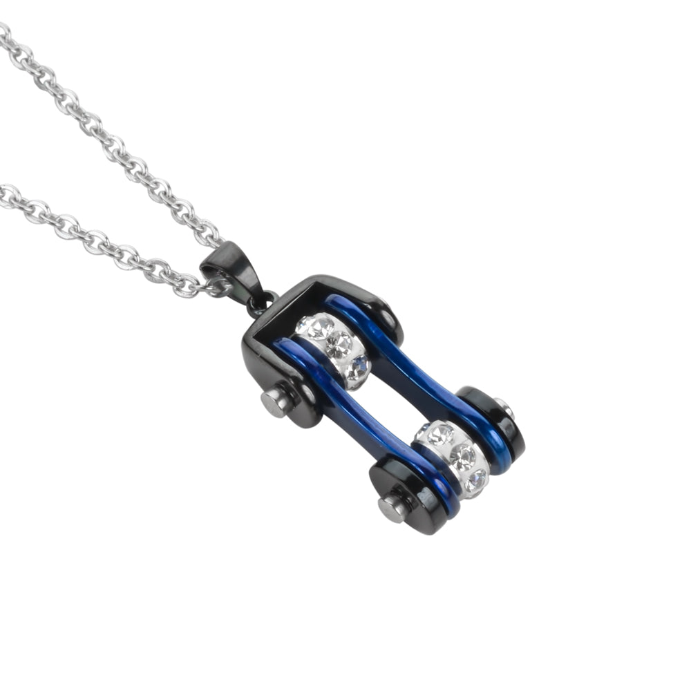 "SK1107N Ladies Bike Chain Black Candy Blue Crystal Bling Necklace 19"" Stainless Steel Motorcycle Jewelry"