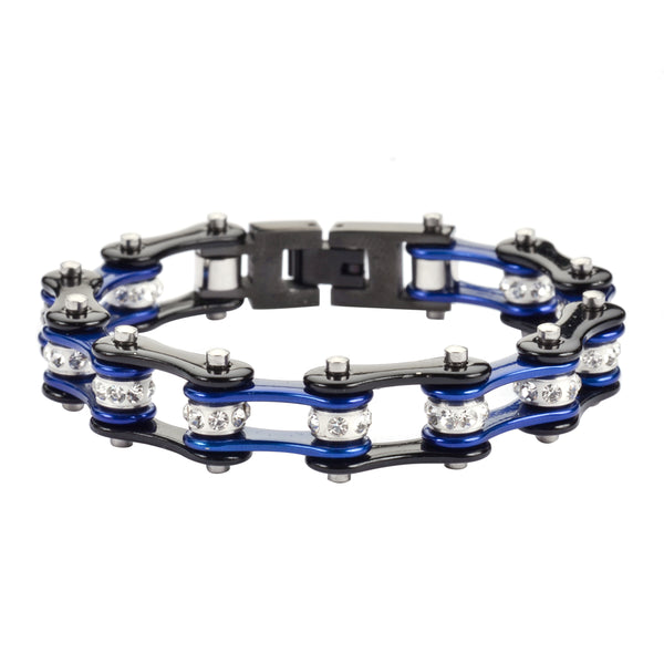 "SK1107 1/2"" Wide Two Tone Black Candy Blue White Crystal Centers"