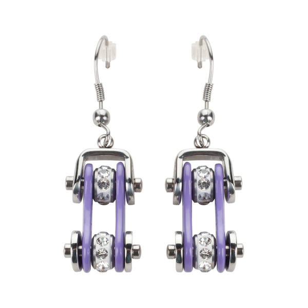 SK1108E  Two Tone Silver Violet Crystal Centers Bike Chain Earrings Stainless Steel Motorcycle Biker Jewelry