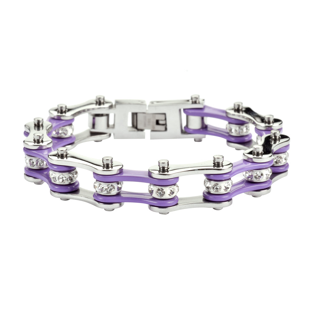 "SK1108 1/2"" Wide Two Tone Silver Violet With White Crystal Centers Stainless Steel Motorcycle Bike Chain Bracelet"