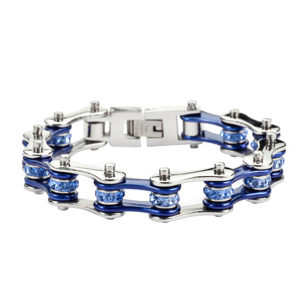 "SK1110 1/2"" Wide Two Tone Silver Candy Blue With Blue Crystal Centers Stainless Steel Motorcycle Bike Chain Bracelet"