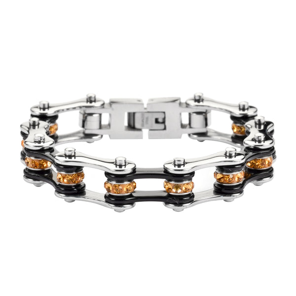"SK1111 1/2"" Wide Two Tone Silver Black With Orange Crystal Centers Stainless Steel Motorcycle Bike Chain Bracelet"