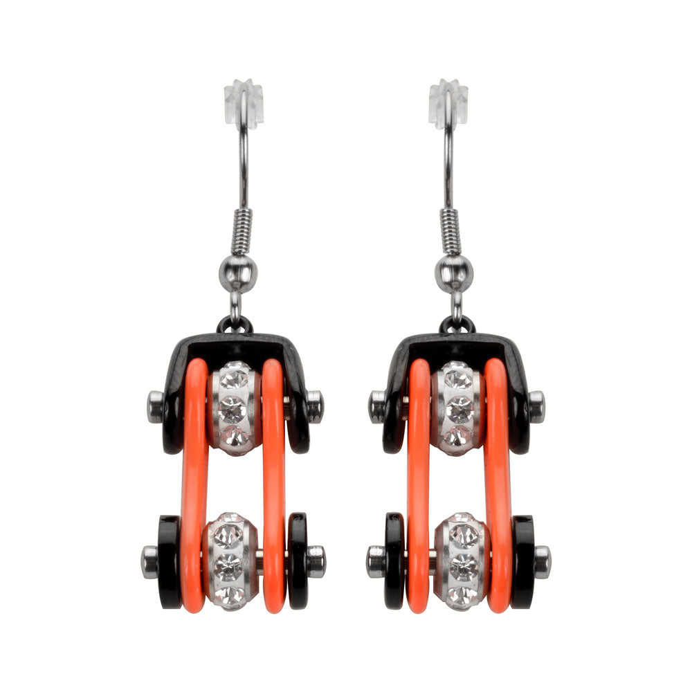 SK1112E  Two Tone Black Orange Crystal Centers Bike Chain Earrings Stainless Steel Motorcycle Biker Jewelry
