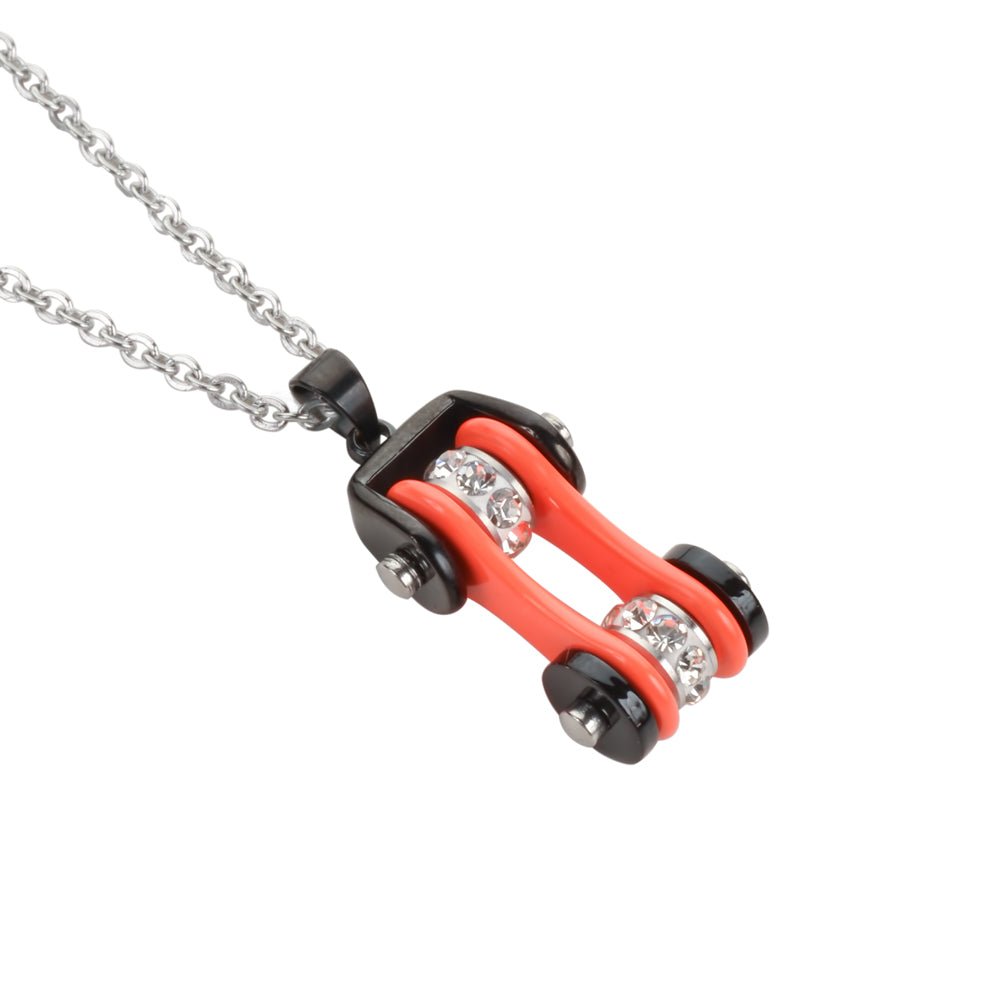 "SK1112N Ladies Bike Chain Black  Orange Crystal Bling Necklace 19"" Stainless Steel Motorcycle Jewelry"