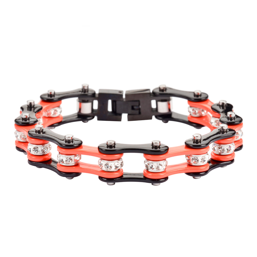 "SK1112 1/2"" Wide Two Tone Orange Black With White Crystal Centers Stainless Steel Motorcycle Bike Chain Bracelet"