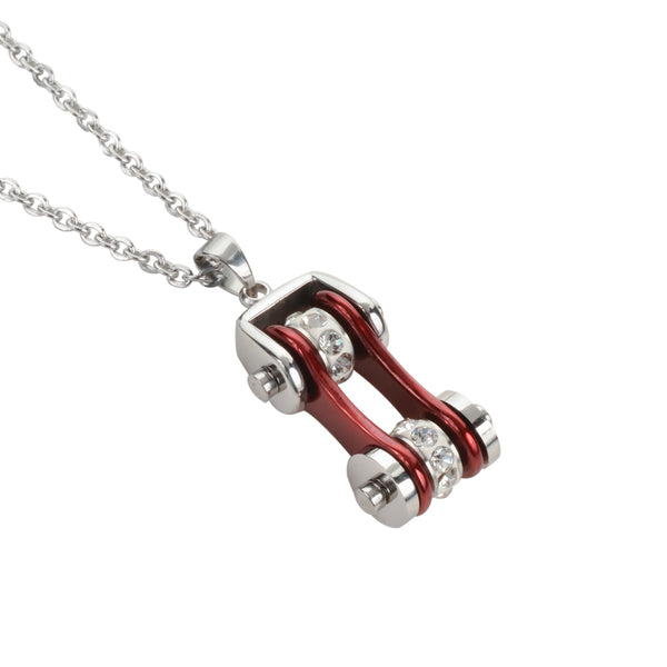 "SK1114N Ladies Bike Chain Pendant Silver Candy Red Crystal Bling Necklace 19"" Stainless Steel Motorcycle Jewelry"