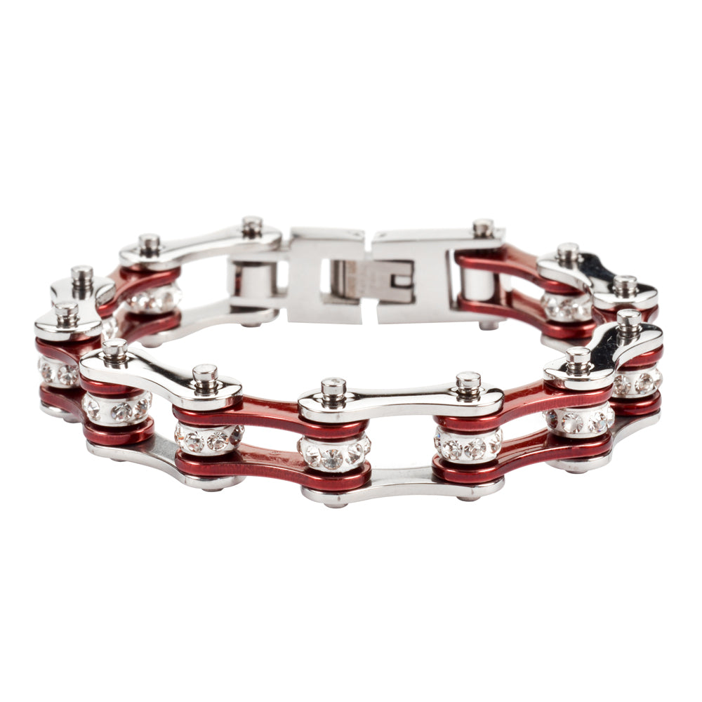 "SK1114 1/2"" Wide Two Tone Silver Candy Red With White Crystal Rollers Stainless Steel Motorcycle Bike Chain Bracelet"