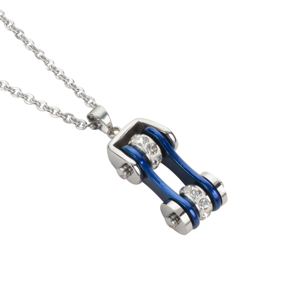 "SK1115N Ladies Bike Chain Silver Candy Blue Crystal Bling Necklace 19"" Stainless Steel Motorcycle Jewelry"