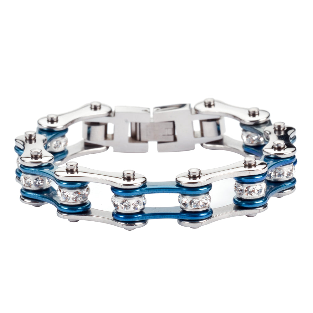 "SK1115 1/2"" Wide Two Tone Silver Candy Blue White Crystal Centers Stainless Steel Motorcycle Bike Chain Bracelet"
