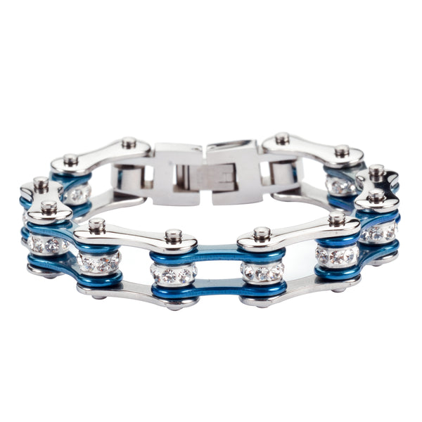 "SK1115 1/2"" Wide Two Tone Silver Candy Blue White Crystal Centers"