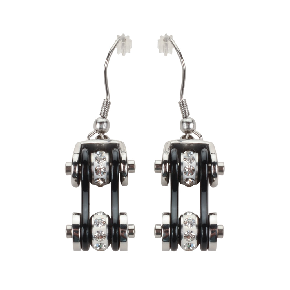 SK1116E  Two Tone Silver Black Crystal Centers Bike Chain Earrings Stainless Steel Motorcycle Biker Jewelry