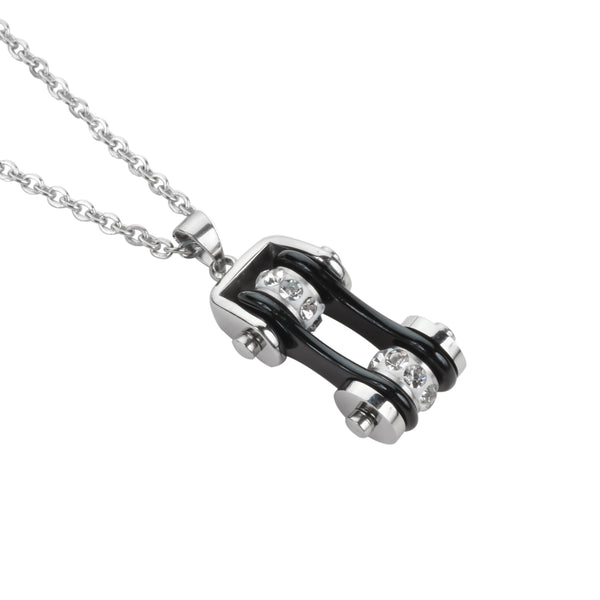 "SK1116N Ladies Bike Chain Silver Black Crystal Bling Necklace 19"" Stainless Steel Motorcycle Jewelry"
