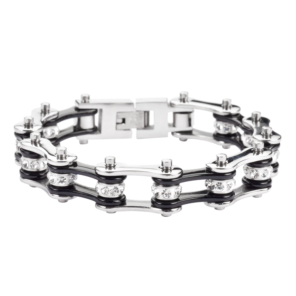 "SK1116 1/2"" Wide Two Tone Silver Black White Crystal Centers Stainless Steel Motorcycle Bike Chain Bracelet"