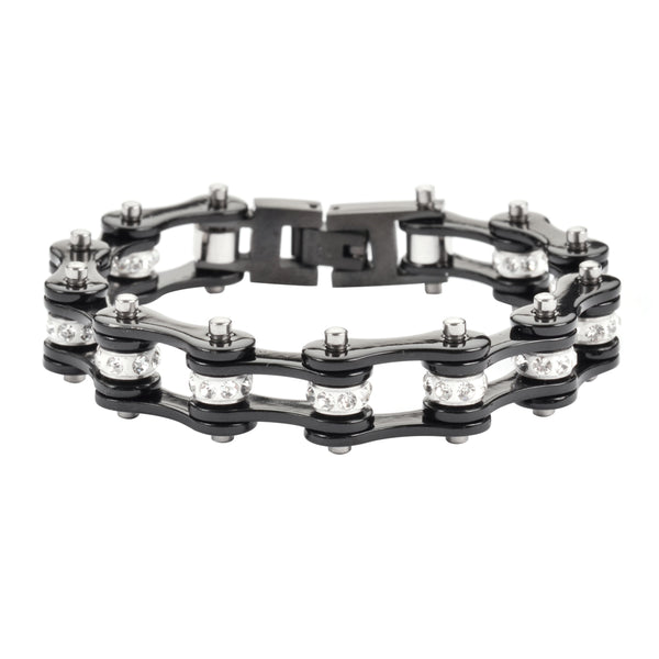 "SK1117 1/2"" Wide All Black With White Crystal Centers Stainless Steel Motorcycle Bike Chain Bracelet"