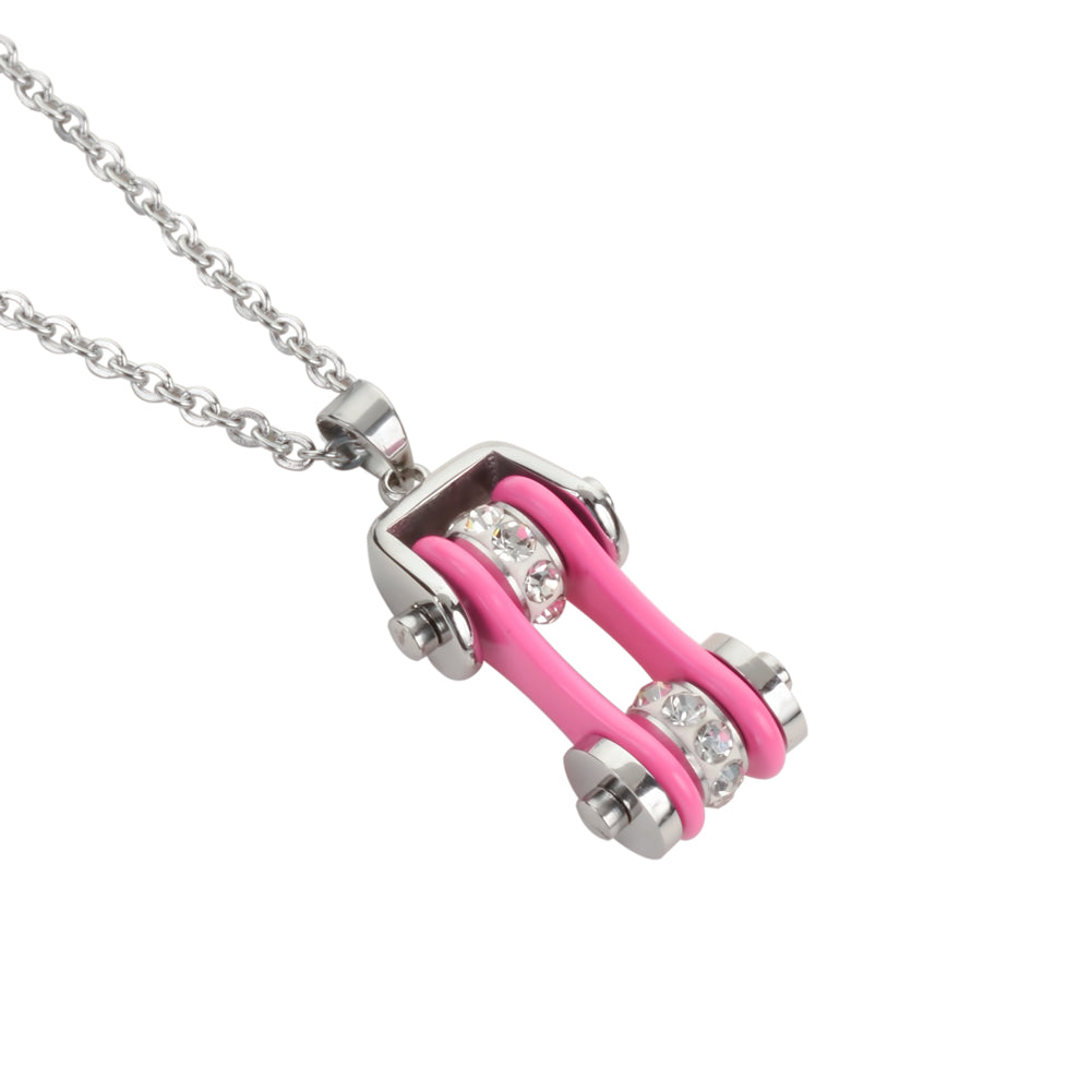 "SK1118N Ladies Bike Chain Silver Hot Pink Crystal Bling Necklace 19"" Stainless Steel Motorcycle Jewelry"
