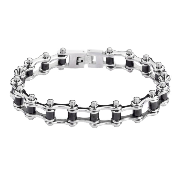 "SK1119 1/2"" Wide Two Tone Silver Black Rollers Stainless Steel Motorcycle Bike Chain Bracelet"