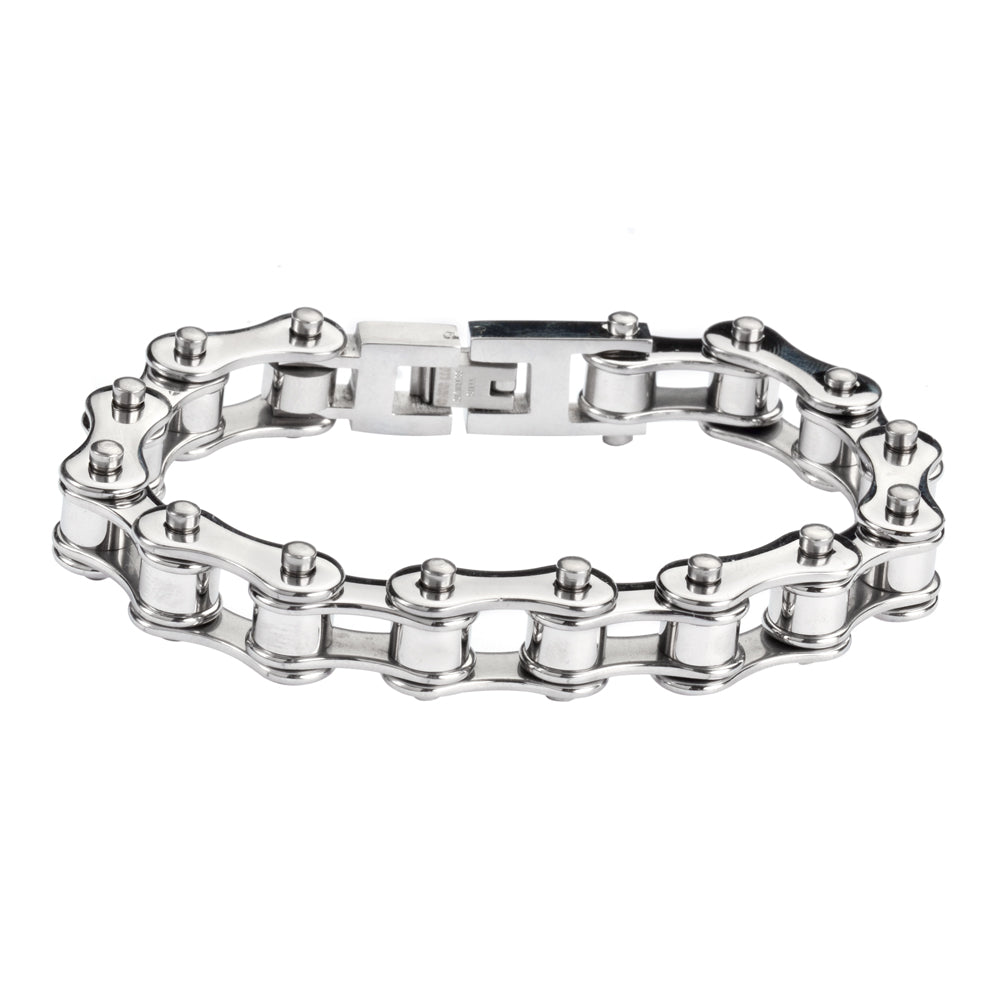 "SK1123 All Stainless 1/2"" Wide Original Design Unisex Stainless Steel Motorcycle Chain Bracelet"