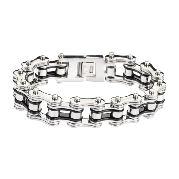 "SK1124 Two Tone Silver Black 3/4"" Wide Double Link Design Unisex Stainless Steel Motorcycle Chain Bracelet"