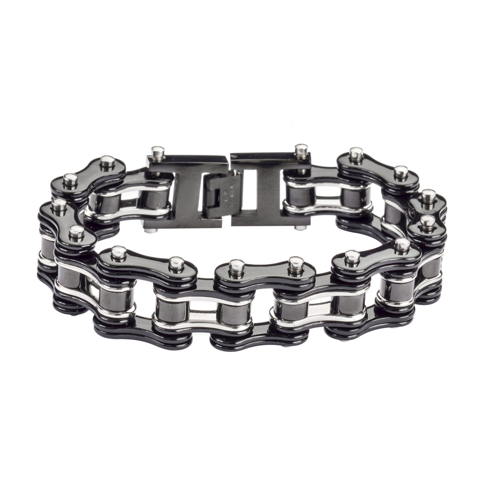 "SK1125 Two Tone Black Silver 3/4"" Wide Double Link Design Unisex Stainless Steel Motorcycle Chain Bracelet"