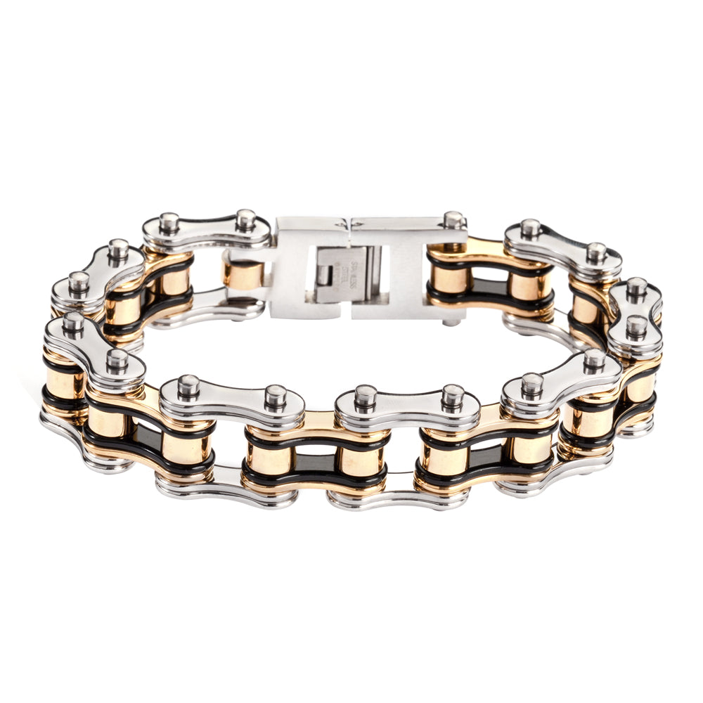 "SK1126 Tri-Color Black Silver Gold 3/4"" Wide Double Link Design Unisex Stainless Steel Motorcycle Chain Bracelet"