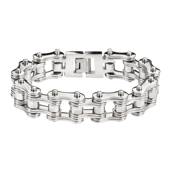 "SK1128 All Silver Tone Double Link 3/4"" Wide Design  Unisex Stainless Steel Motorcycle Chain Bracelet"