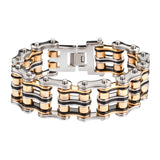 "SK1130 1"" Wide Tri-Color Black Silver Gold Unisex Stainless Steel Motorcycle Chain Bracelet"