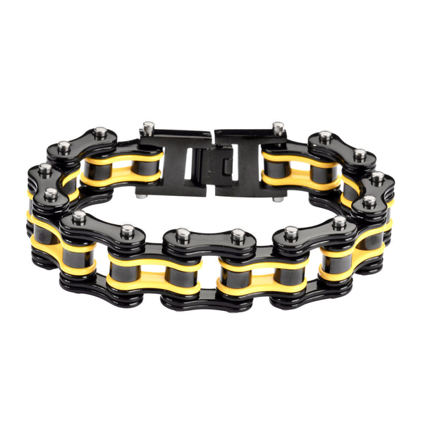 "SK1132 Two Tone Black Yellow 3/4"" Wide Double Link Design Unisex Stainless Steel Motorcycle Chain Bracelet"