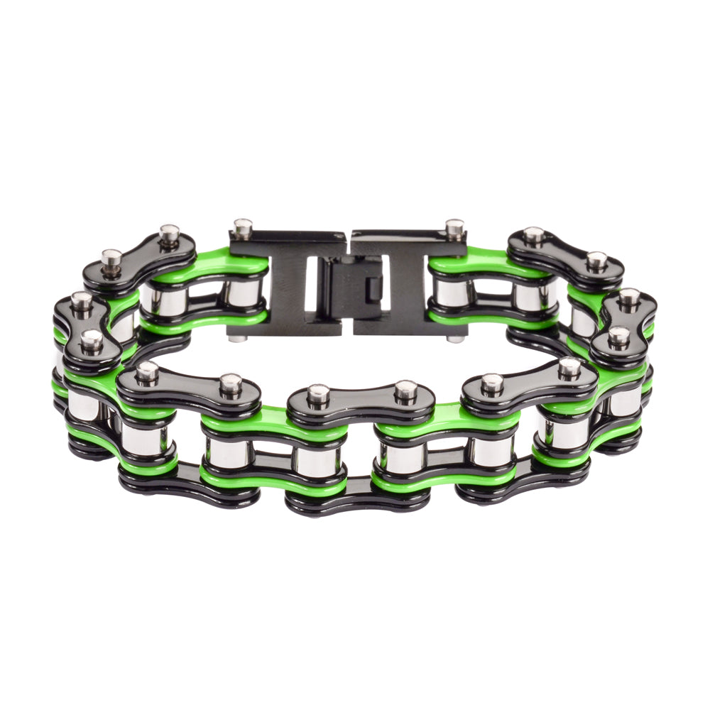 "SK1133 Black Green Silver 3/4"" Wide Double Link Design Unisex Stainless Steel Motorcycle Chain Bracelet"