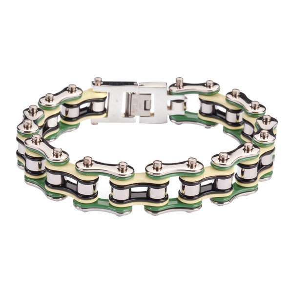 "SK1134 Silver Cream Green Black 3/4"" Wide  Double Link Design Unisex Stainless Steel Motorcycle Chain Bracelet"