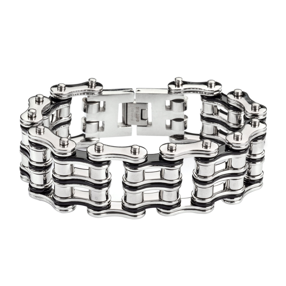 "SK1138 Two Tone Silver Black 1"" Wide Unisex Stainless Steel Motorcycle Chain Bracelet"
